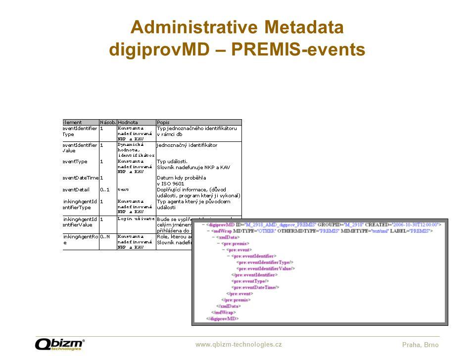www.qbizm-technologies.cz Praha, Brno Administrative Metadata digiprovMD – PREMIS-events