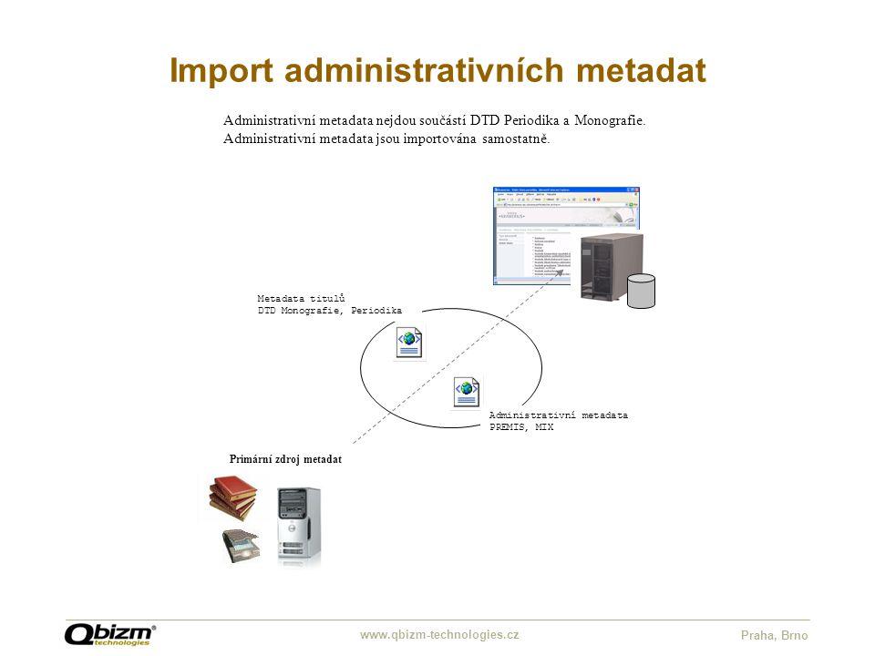 www.qbizm-technologies.cz Praha, Brno Import administrativních metadat Administrativní metadata nejdou součástí DTD Periodika a Monografie.