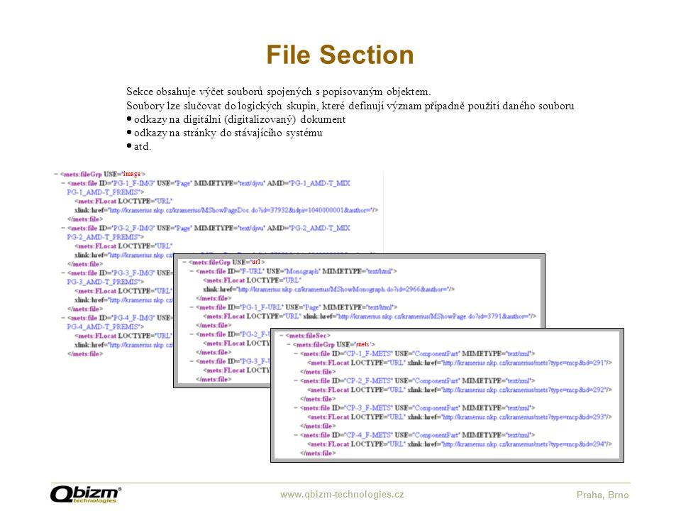 www.qbizm-technologies.cz Praha, Brno File Section Sekce obsahuje výčet souborů spojených s popisovaným objektem. Soubory lze slučovat do logických sk