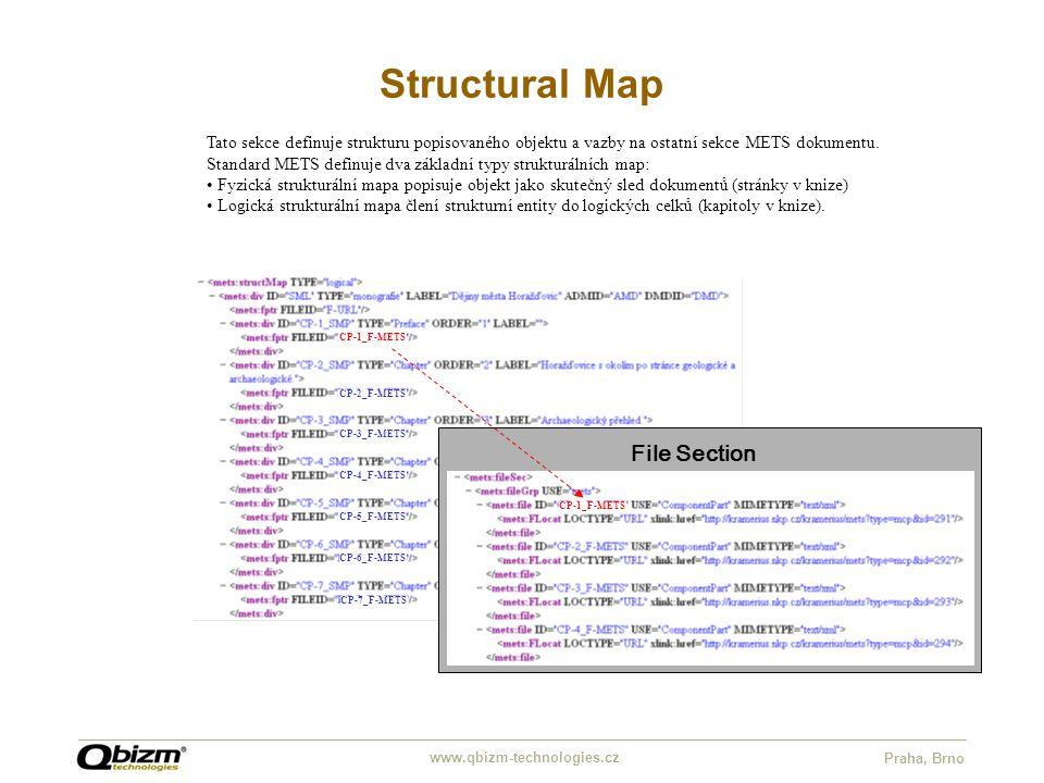 www.qbizm-technologies.cz Praha, Brno Structural Map CP-1_F-METS CP-2_F-METS CP-3_F-METS CP-4_F-METS CP-5_F-METS CP-6_F-METS CP-7_F-METS Tato sekce definuje strukturu popisovaného objektu a vazby na ostatní sekce METS dokumentu.