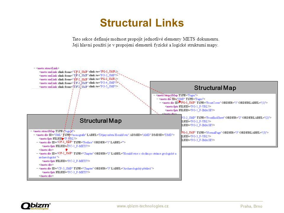 "www.qbizm-technologies.cz Praha, Brno Structural Links ""CP-1_SMP"" ""CP-2_SMP"" Tato sekce definuje možnost propojit jednotlivé elementy METS dokumentu."