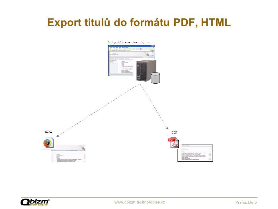 www.qbizm-technologies.cz Praha, Brno Export titulů do formátu PDF, HTML http://kramerius.nkp.cz HTML PDF