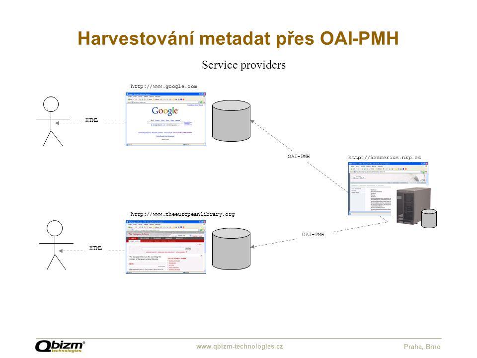 www.qbizm-technologies.cz Praha, Brno Harvestování metadat přes OAI-PMH OAI-PMH HTML Service providers http://www.google.com http://www.theeuropeanlib