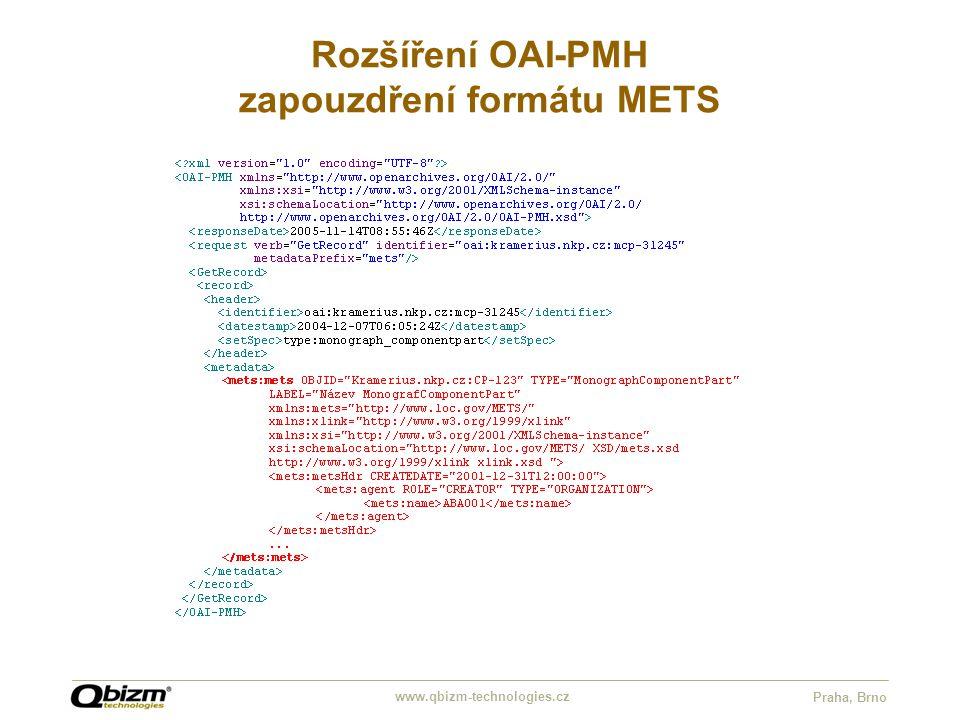 www.qbizm-technologies.cz Praha, Brno Rozšíření OAI-PMH zapouzdření formátu METS
