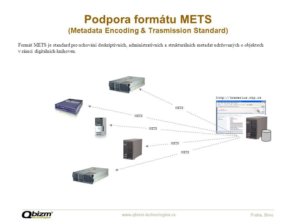www.qbizm-technologies.cz Praha, Brno Podpora formátu METS (Metadata Encoding & Trasmission Standard) http://kramerius.nkp.cz Formát METS je standard