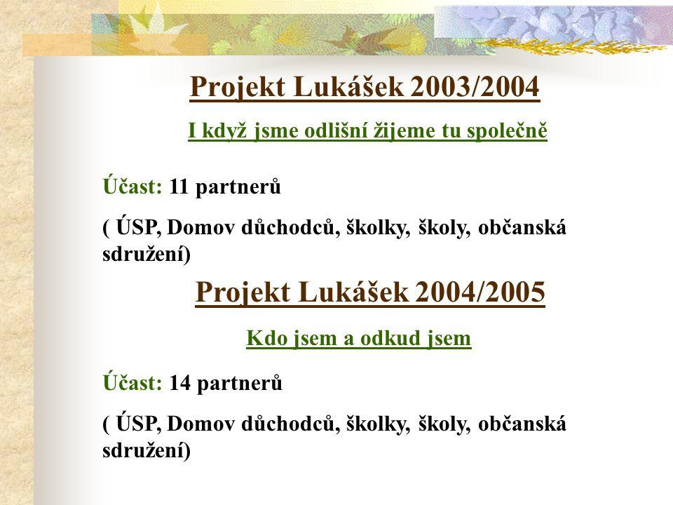 Cíl projektu  Prolomení izolovanosti zainteresovaných skupin i jednotlivců.