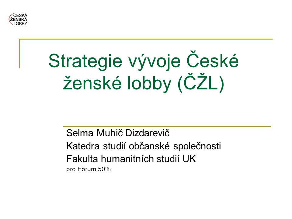 Strategie vývoje České ženské lobby (ČŽL) Selma Muhič Dizdarevič Katedra studií občanské společnosti Fakulta humanitních studií UK pro Fórum 50%