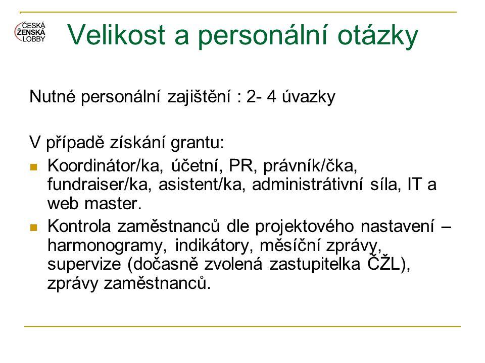 Velikost a personální otázky Nutné personální zajištění : 2- 4 úvazky V případě získání grantu:  Koordinátor/ka, účetní, PR, právník/čka, fundraiser/