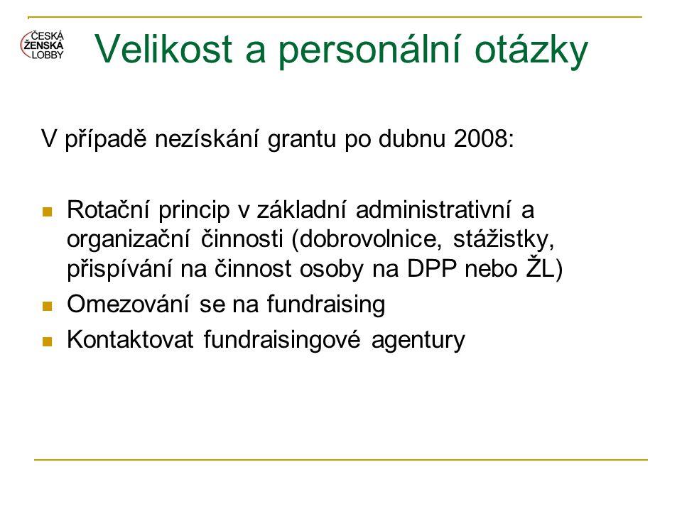 Velikost a personální otázky V případě nezískání grantu po dubnu 2008:  Rotační princip v základní administrativní a organizační činnosti (dobrovolni