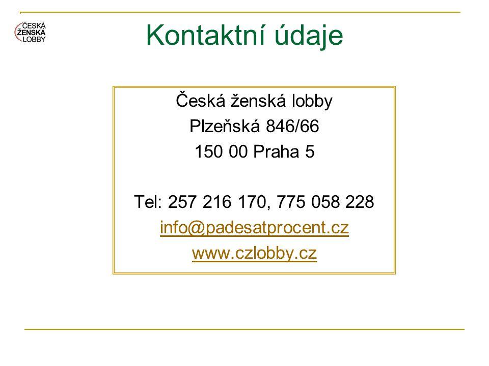 Kontaktní údaje Česká ženská lobby Plzeňská 846/66 150 00 Praha 5 Tel: 257 216 170, 775 058 228 info@padesatprocent.cz www.czlobby.cz