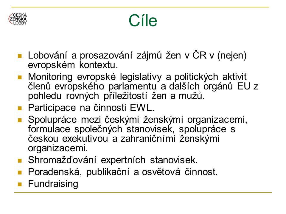 Cíle  Lobování a prosazování zájmů žen v ČR v (nejen) evropském kontextu.  Monitoring evropské legislativy a politických aktivit členů evropského pa