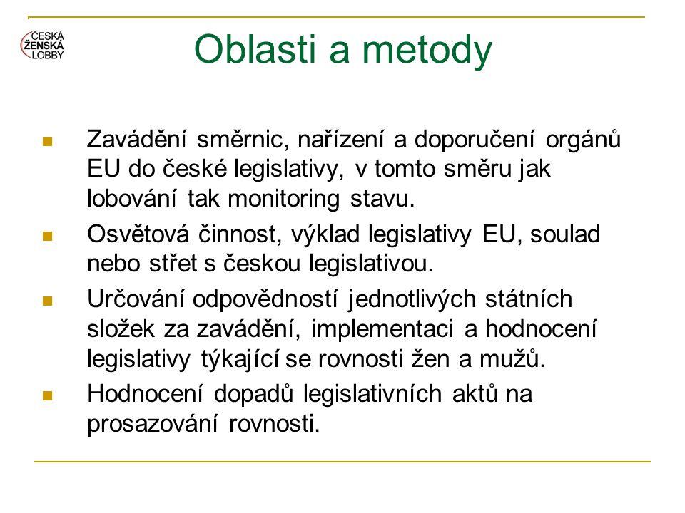 Oblasti a metody  Zavádění směrnic, nařízení a doporučení orgánů EU do české legislativy, v tomto směru jak lobování tak monitoring stavu.  Osvětová