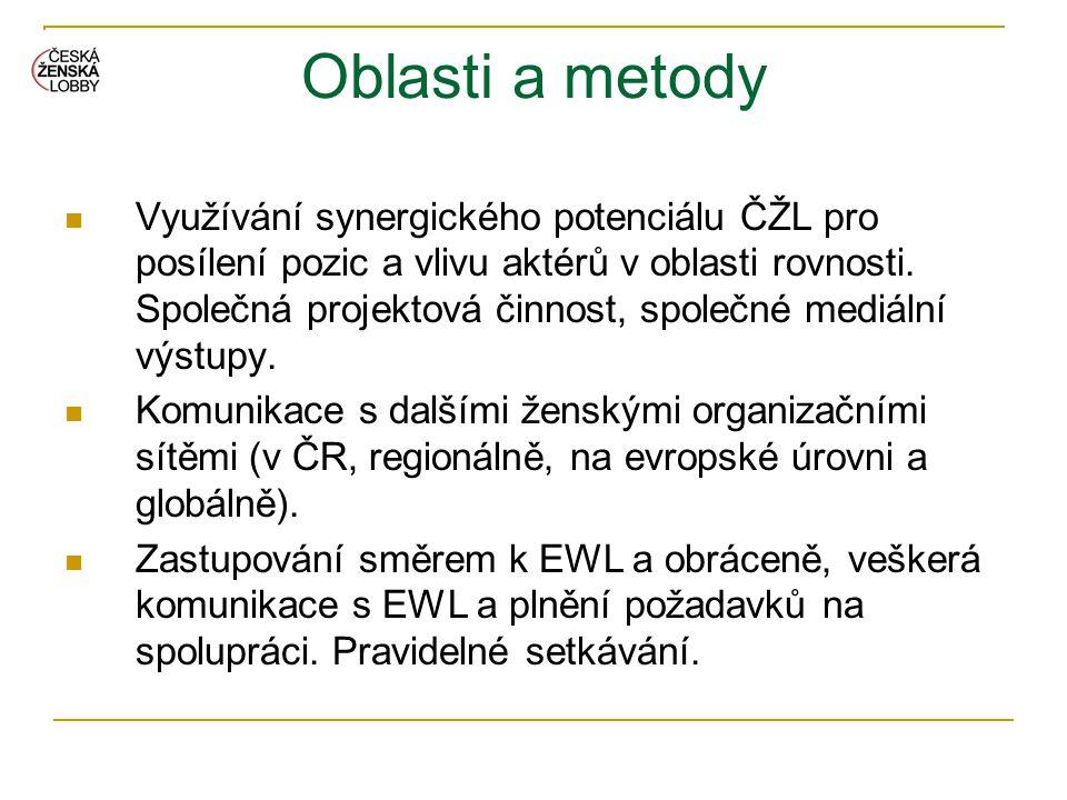 Oblasti a metody  Využívání synergického potenciálu ČŽL pro posílení pozic a vlivu aktérů v oblasti rovnosti. Společná projektová činnost, společné m