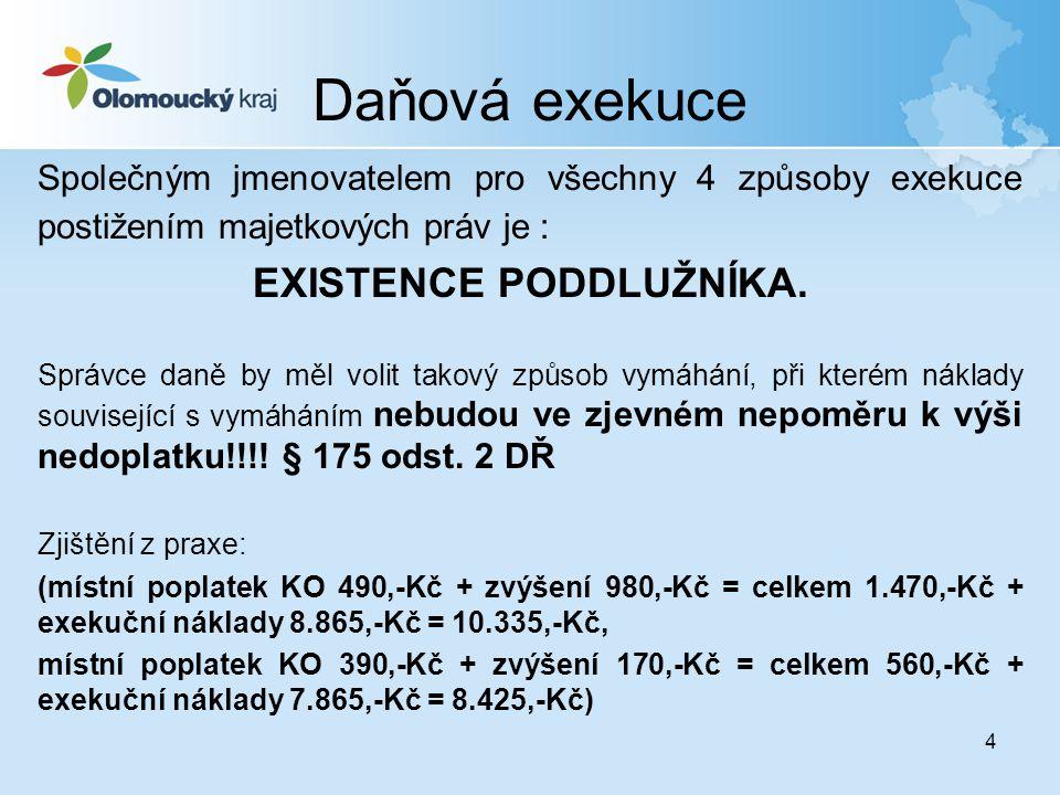4 Daňová exekuce Společným jmenovatelem pro všechny 4 způsoby exekuce postižením majetkových práv je : EXISTENCE PODDLUŽNÍKA. Správce daně by měl voli