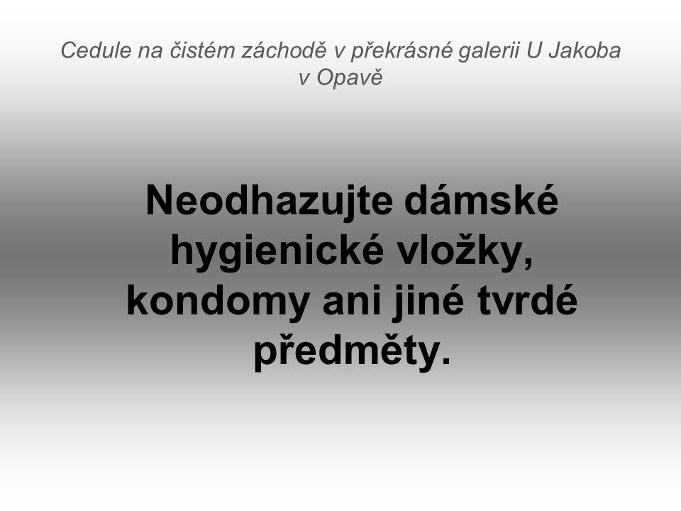 Cedule na čistém záchodě v překrásné galerii U Jakoba v Opavě Neodhazujte dámské hygienické vložky, kondomy ani jiné tvrdé předměty.