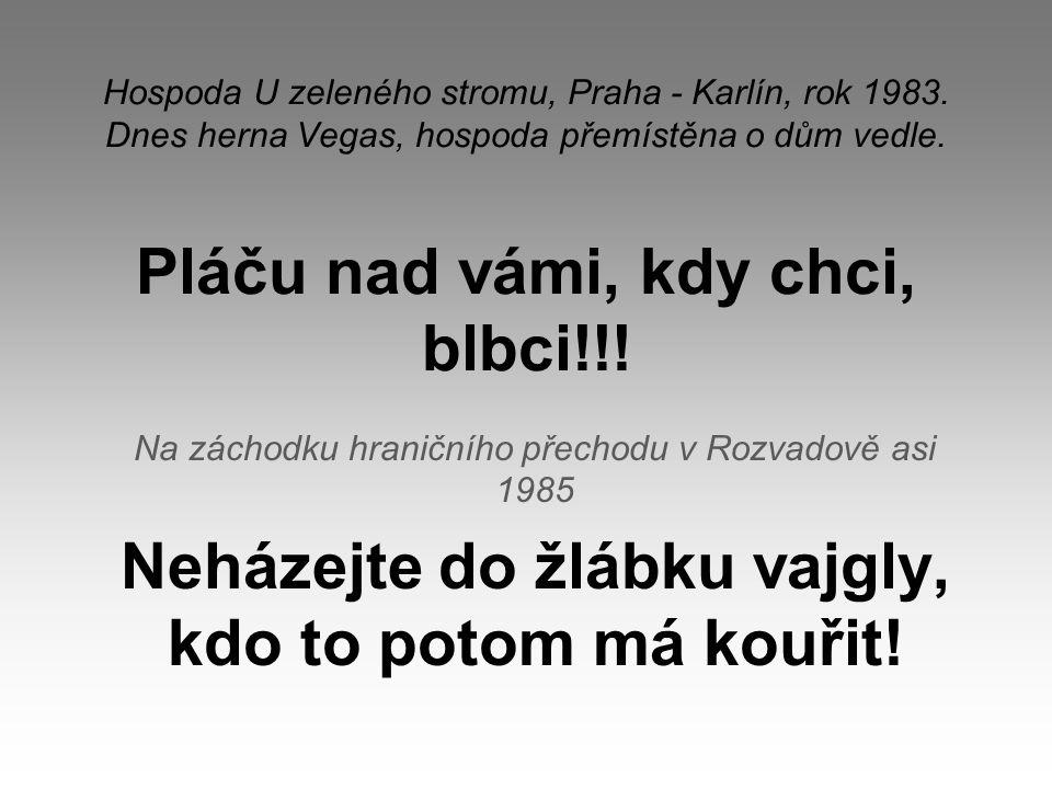 Hospoda U zeleného stromu, Praha - Karlín, rok 1983. Dnes herna Vegas, hospoda přemístěna o dům vedle. Pláču nad vámi, kdy chci, blbci!!! Na záchodku