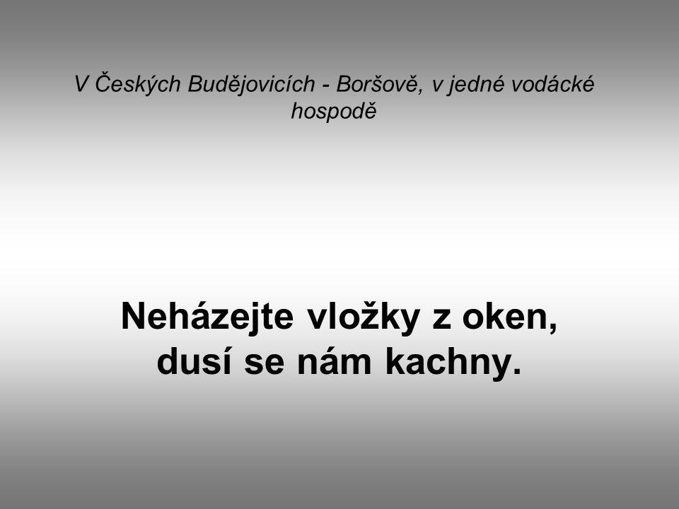 V Českých Budějovicích - Boršově, v jedné vodácké hospodě Neházejte vložky z oken, dusí se nám kachny.