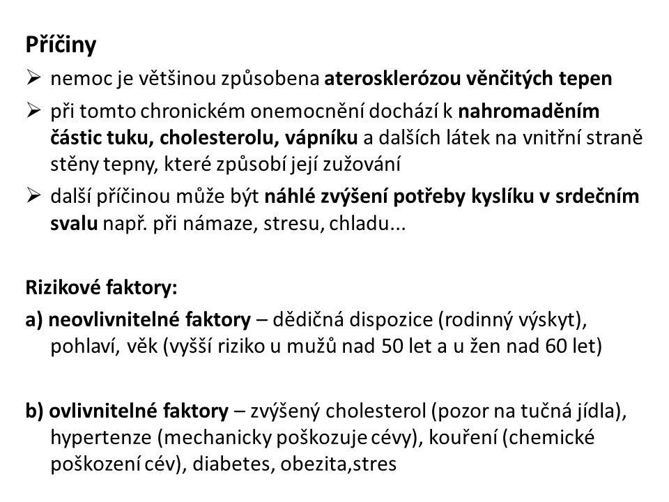 Příčiny  nemoc je většinou způsobena aterosklerózou věnčitých tepen  při tomto chronickém onemocnění dochází k nahromaděním částic tuku, cholesterol
