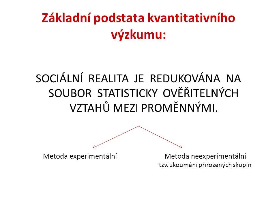 Základní podstata kvantitativního výzkumu: SOCIÁLNÍ REALITA JE REDUKOVÁNA NA SOUBOR STATISTICKY OVĚŘITELNÝCH VZTAHŮ MEZI PROMĚNNÝMI. Metoda experiment