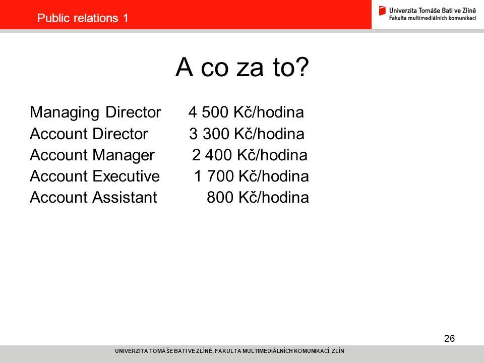 26 UNIVERZITA TOMÁŠE BATI VE ZLÍNĚ, FAKULTA MULTIMEDIÁLNÍCH KOMUNIKACÍ, ZLÍN Public relations 1 A co za to? Managing Director 4 500 Kč/hodina Account