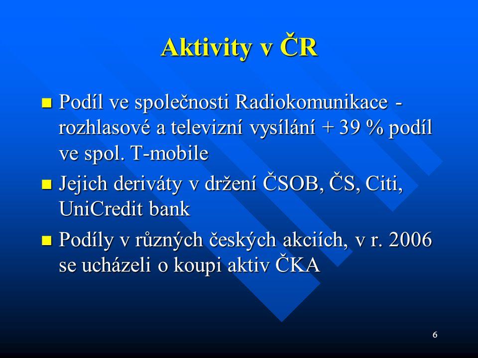 6 Aktivity v ČR  Podíl  Podíl ve společnosti Radiokomunikace - rozhlasové a televizní vysílání + 39 % podíl ve spol. T-mobile  Jejich  Jejich deri