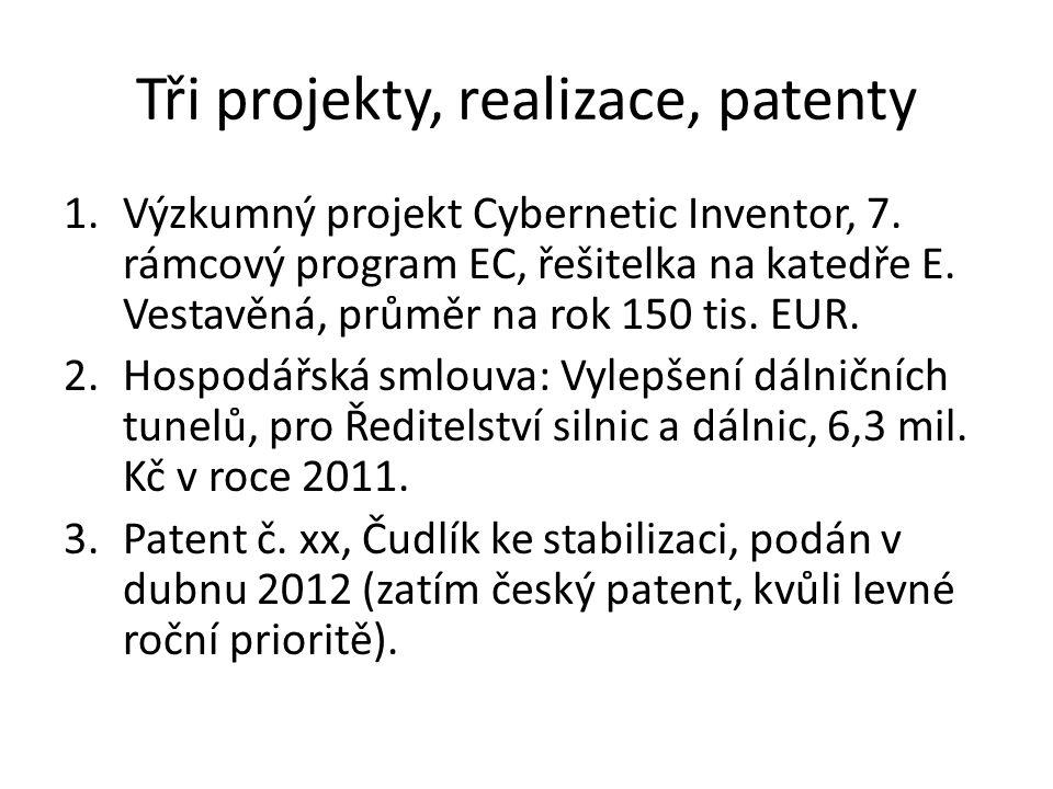 Tři projekty, realizace, patenty 1.Výzkumný projekt Cybernetic Inventor, 7. rámcový program EC, řešitelka na katedře E. Vestavěná, průměr na rok 150 t