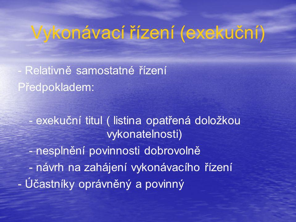Vykonávací řízení (exekuční) - Relativně samostatné řízení Předpokladem: - exekuční titul ( listina opatřená doložkou vykonatelnosti) - nesplnění povi