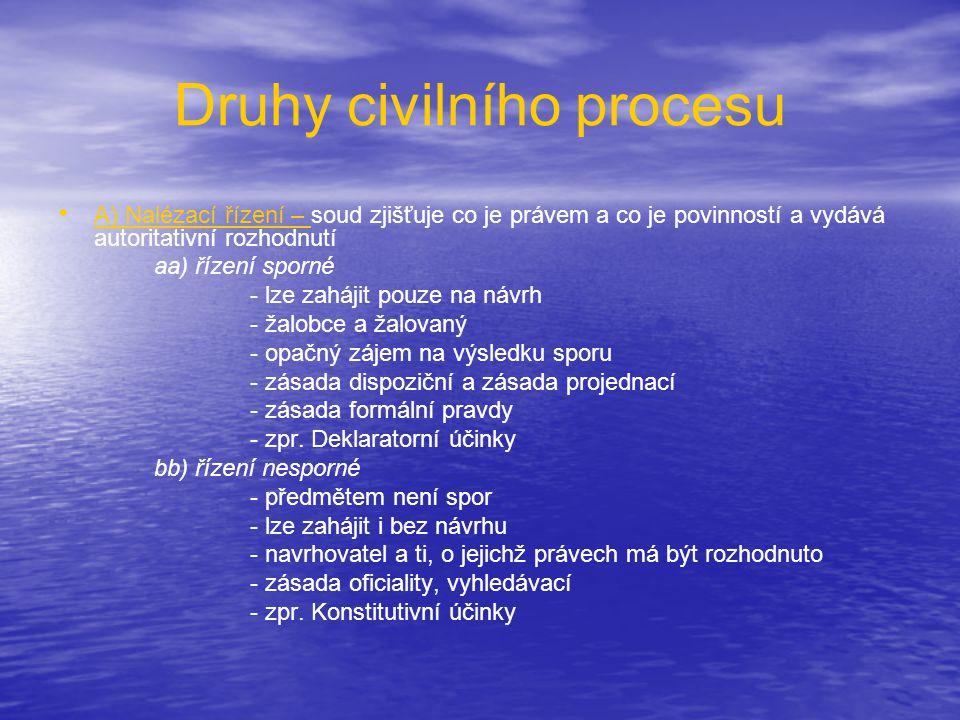 Druhy civilního procesu • • A) Nalézací řízení – soud zjišťuje co je právem a co je povinností a vydává autoritativní rozhodnutí aa) řízení sporné - l
