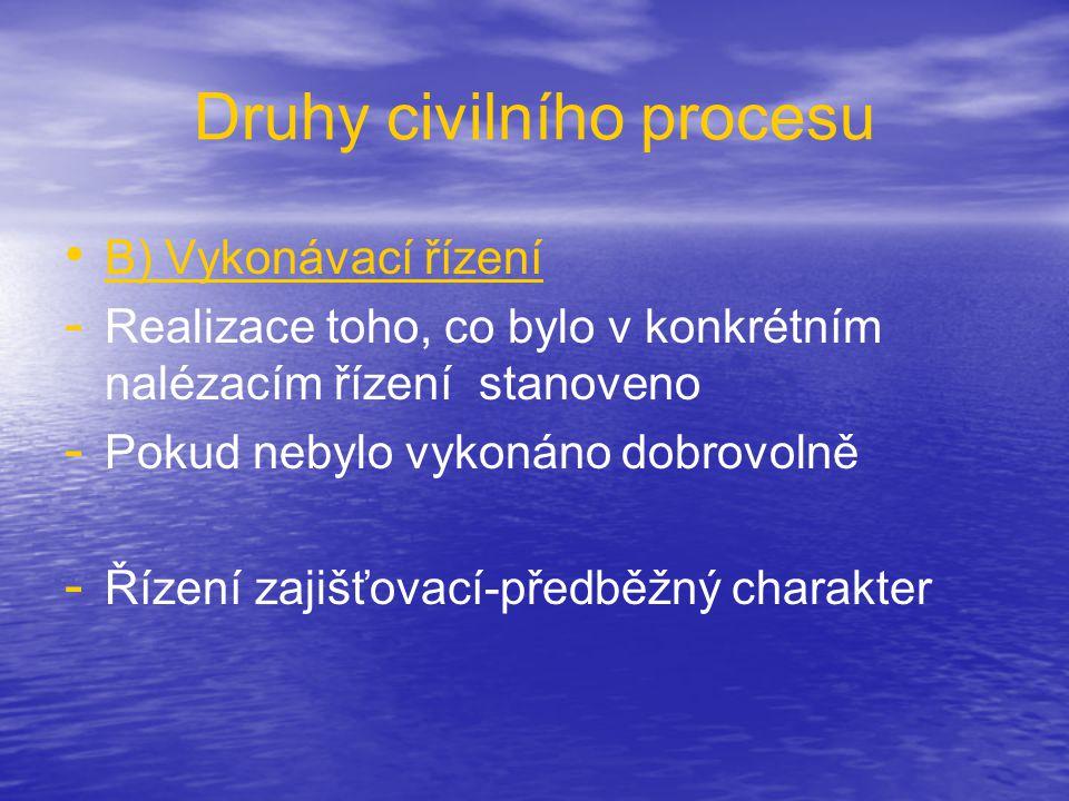 Druhy civilního procesu • • B) Vykonávací řízení - - Realizace toho, co bylo v konkrétním nalézacím řízení stanoveno - - Pokud nebylo vykonáno dobrovo