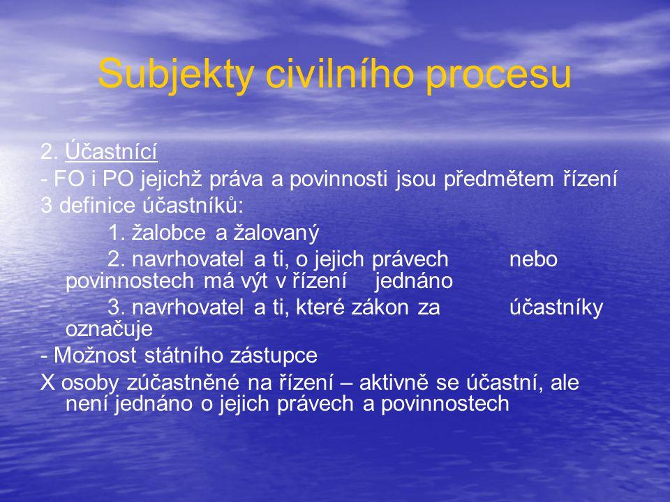 Subjekty civilního procesu 2. Účastnící - FO i PO jejichž práva a povinnosti jsou předmětem řízení 3 definice účastníků: 1. žalobce a žalovaný 2. navr