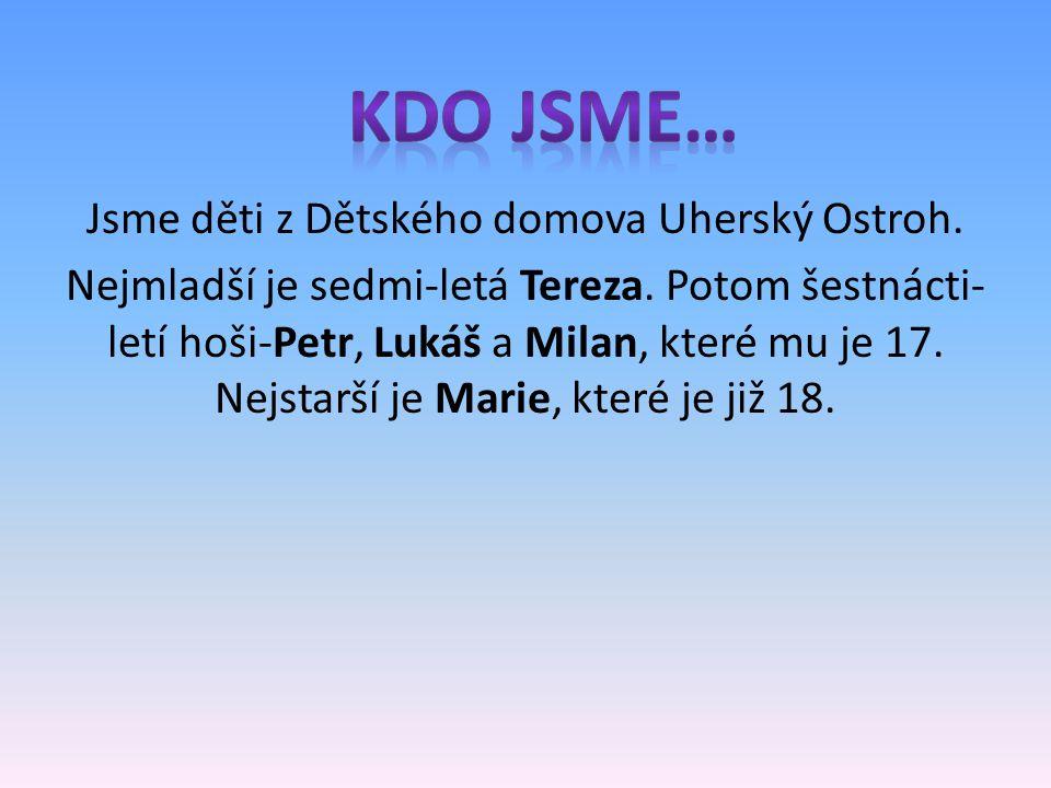 Jsme děti z Dětského domova Uherský Ostroh. Nejmladší je sedmi-letá Tereza. Potom šestnácti- letí hoši-Petr, Lukáš a Milan, které mu je 17. Nejstarší