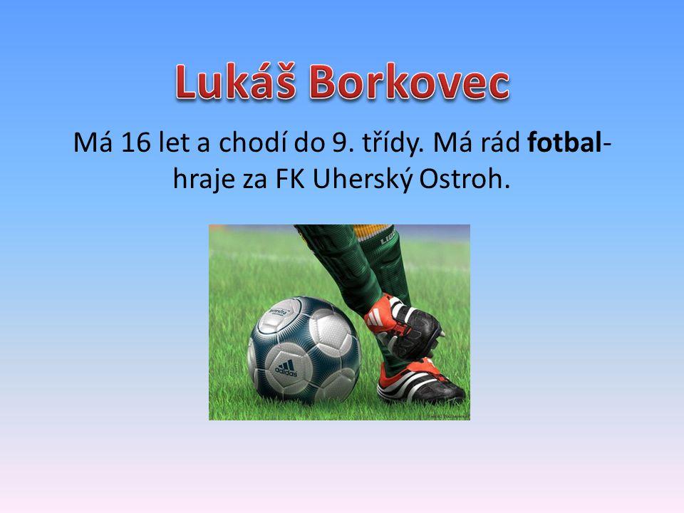 Má 17 let a chodí do 1.ročníku na obor truhlář. Má rád fotbal- hraje za FK Uherský Ostroh.