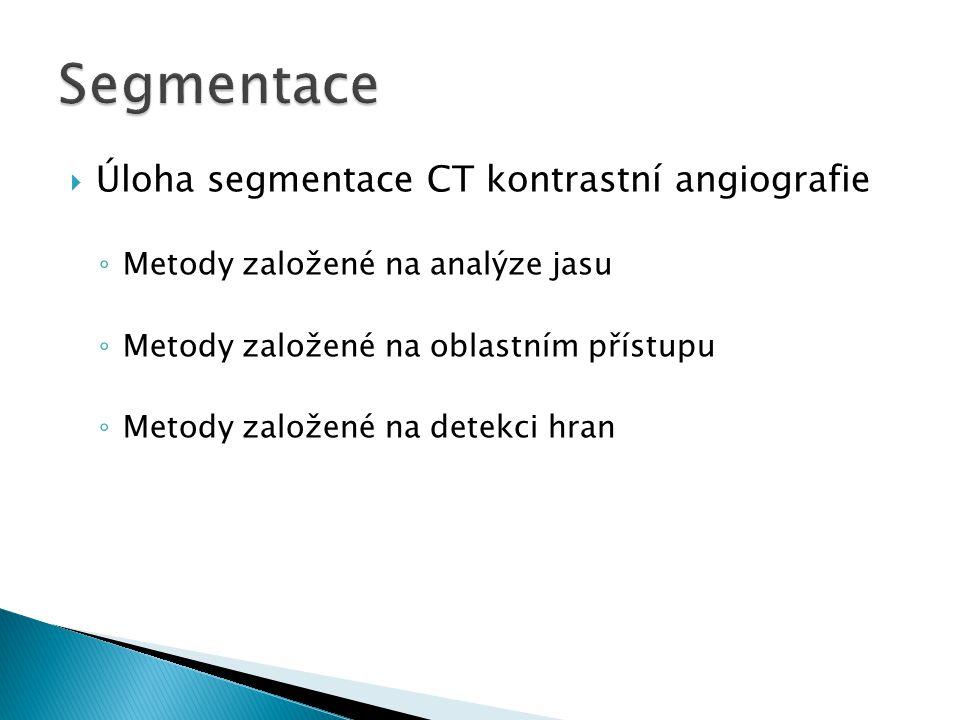  Úloha segmentace CT kontrastní angiografie ◦ Metody založené na analýze jasu ◦ Metody založené na oblastním přístupu ◦ Metody založené na detekci hran