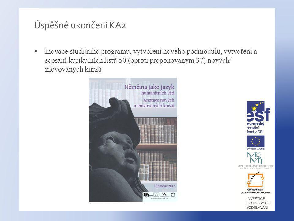 Úspěšné ukončení KA2  inovace studijního programu, vytvoření nového podmodulu, vytvoření a sepsání kurikulních listů 50 (oproti proponovaným 37) nových/ inovovaných kurzů