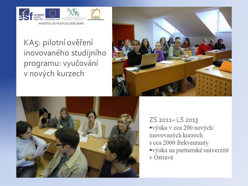 KA5: pilotní ověření inovovaného studijního programu: vyučování v nových kurzech ZS 2011– LS 2013  výuka v cca 200 nových/ inovovaných kurzech s cca 2000 frekventanty  výuka na partnerské univerzitě v Ostravě