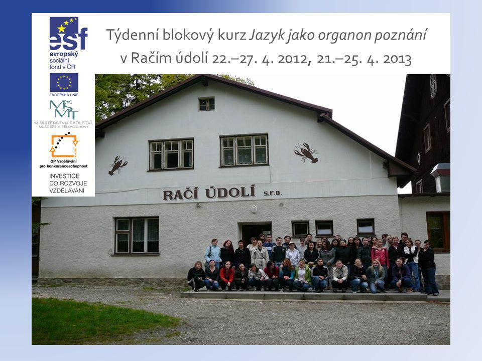 Týdenní blokový kurz Jazyk jako organon poznání v Račím údolí 22.–27. 4. 2012, 21.–25. 4. 2013