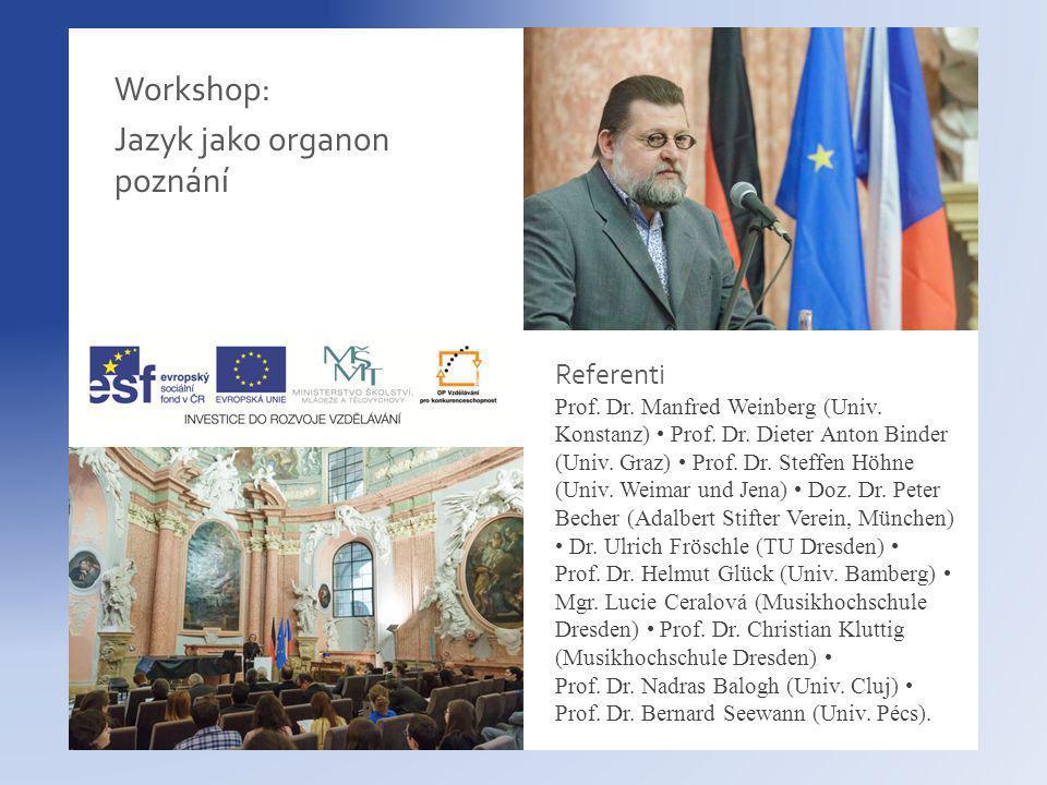 Workshop: Jazyk jako organon poznání Referenti Prof.