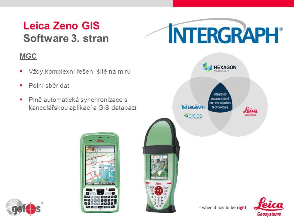 12 Leica Zeno GIS Software 3. stran MGC  Vždy komplexní řešení šité na míru  Polní sběr dat  Plně automatická synchronizace s kancelářskou aplikací