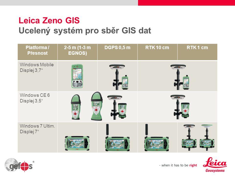 """3 Leica Zeno GIS Ucelený systém pro sběr GIS dat Platforma / Přesnost 2-5 m (1-3 m EGNOS) DGPS 0,5 mRTK 10 cmRTK 1 cm Windows Mobile Displej 3,7"""" Wind"""