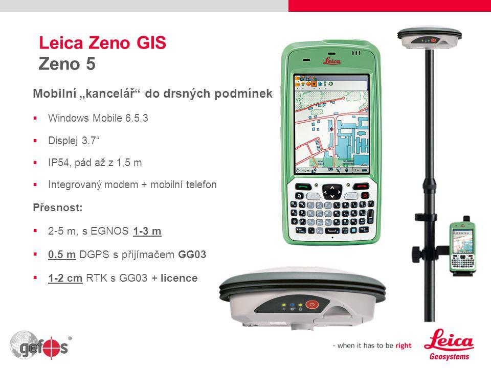 5 Leica Zeno GIS CS10/CS15 GIS Nejodolnější kontroler  Windows CE 6  Displej 3.5  IP67, pád až z 1,2 m  Integrovaný GSM/UMTS modem Přesnost:  0,5 m DGPS s přijímačem GG03  1-2 cm RTK s GG03 + licence