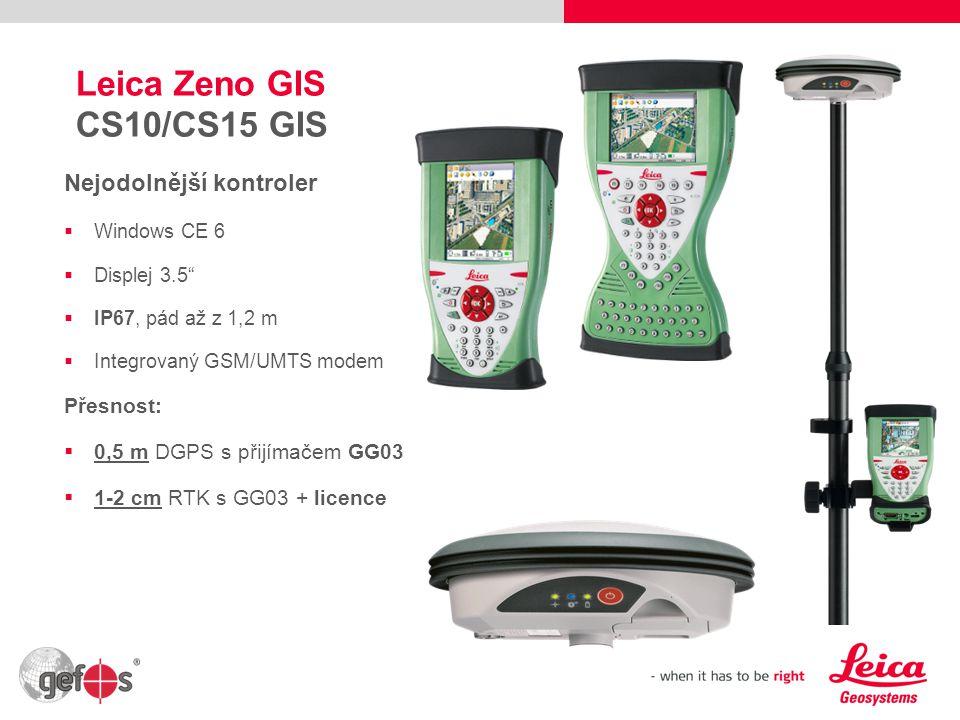 """5 Leica Zeno GIS CS10/CS15 GIS Nejodolnější kontroler  Windows CE 6  Displej 3.5""""  IP67, pád až z 1,2 m  Integrovaný GSM/UMTS modem Přesnost:  0,"""