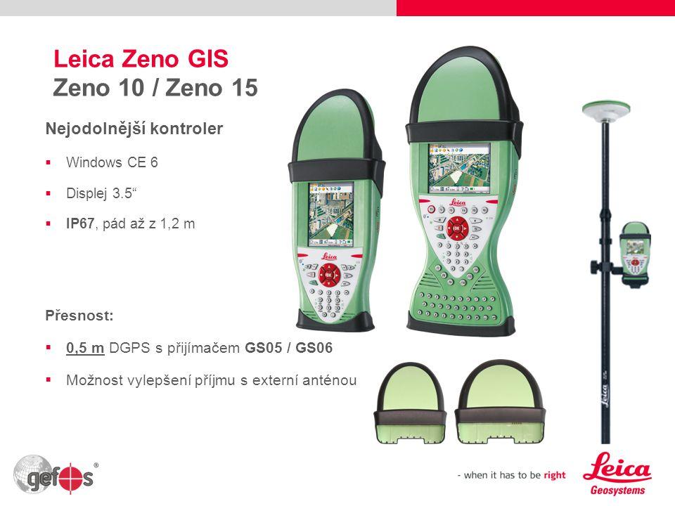 7 Leica Zeno GIS CS25 / CS25 GNSS Tablet PC do drsných podmínek  Windows 7 Ultimate  Displej 7  IP65, pád až z 1,2 m  Integrovaný GSM/UMTS modem  Vždy s interní základní GPS 2-5 m 2 varianty:  CS25: pouze základní GPS  CS25 GNSS: Integrovaný RTK GNSS čip