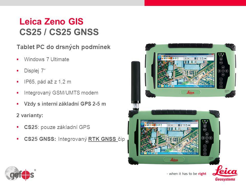 8 Leica Zeno GIS CS25 Přesnost:  2-5 m: základní interní GPS  0,5 m DGPS: externí přijímač GG03  1-2 cm RTK: navíc licence pro GG03