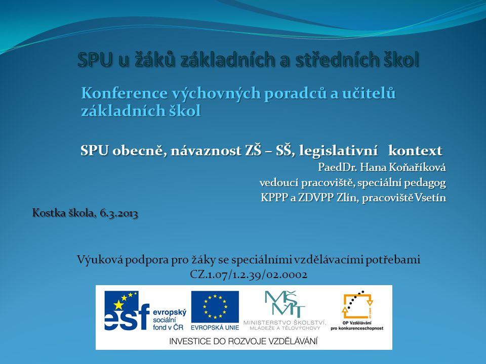 Konference výchovných poradců a učitelů základních škol SPU obecně, návaznost ZŠ – SŠ, legislativní kontext PaedDr.