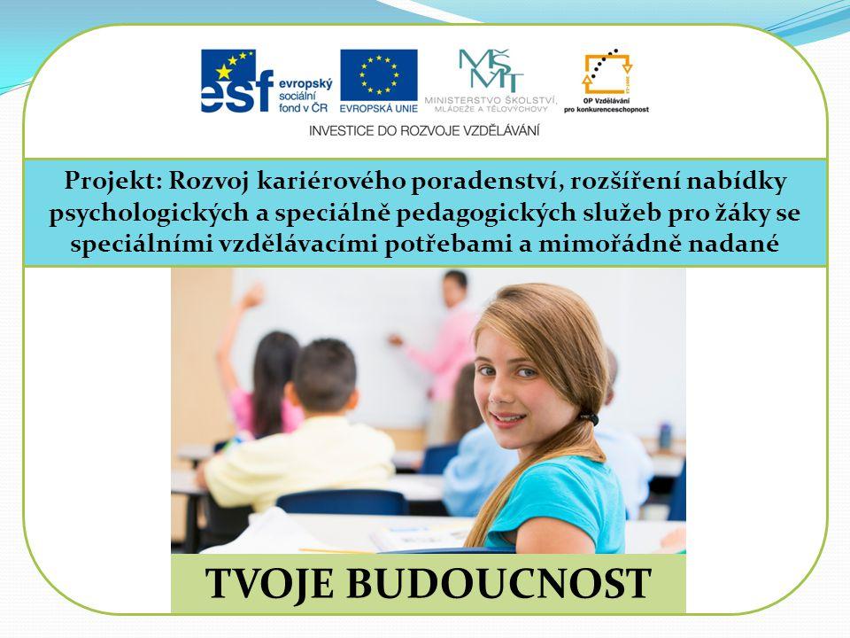 Projekt: Rozvoj kariérového poradenství, rozšíření nabídky psychologických a speciálně pedagogických služeb pro žáky se speciálními vzdělávacími potřebami a mimořádně nadané TVOJE BUDOUCNOST