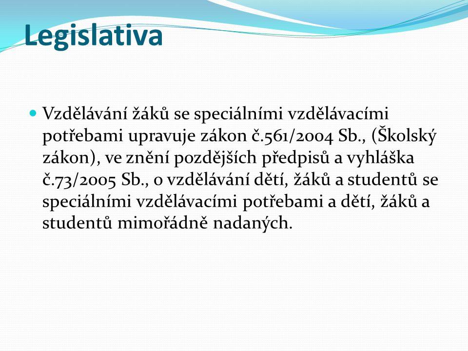 Legislativa  Vzdělávání žáků se speciálními vzdělávacími potřebami upravuje zákon č.561/2004 Sb., (Školský zákon), ve znění pozdějších předpisů a vyhláška č.73/2005 Sb., o vzdělávání dětí, žáků a studentů se speciálními vzdělávacími potřebami a dětí, žáků a studentů mimořádně nadaných.