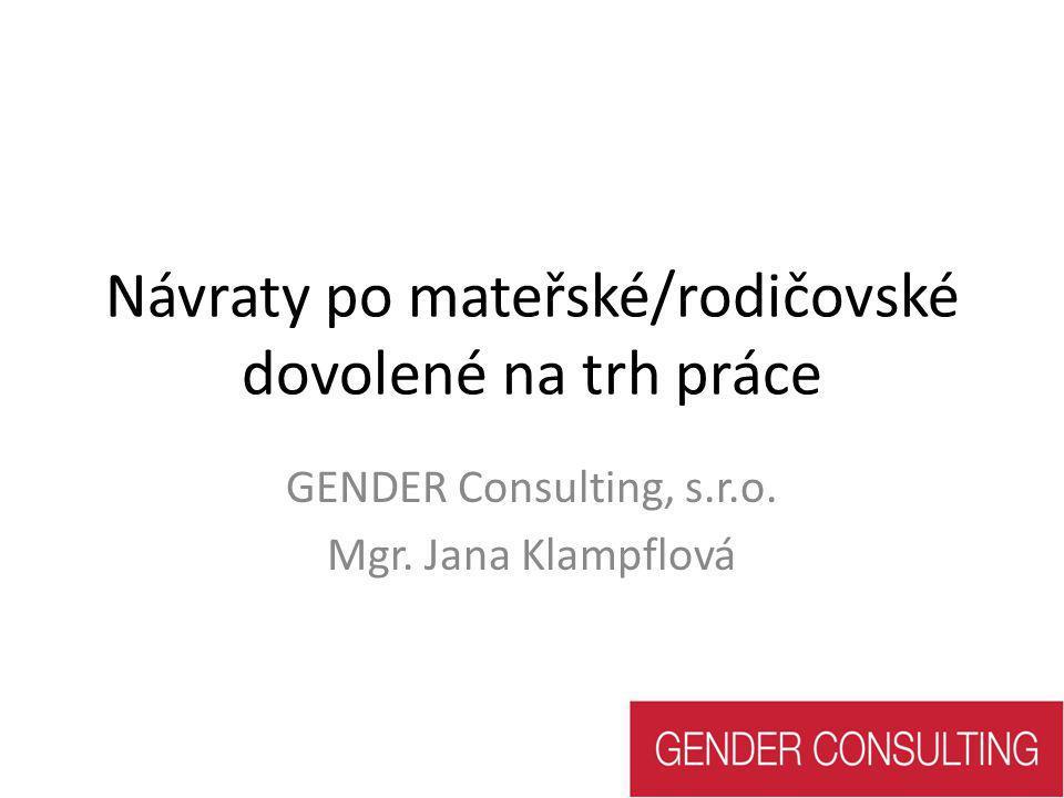 Návraty po mateřské/rodičovské dovolené na trh práce GENDER Consulting, s.r.o. Mgr. Jana Klampflová