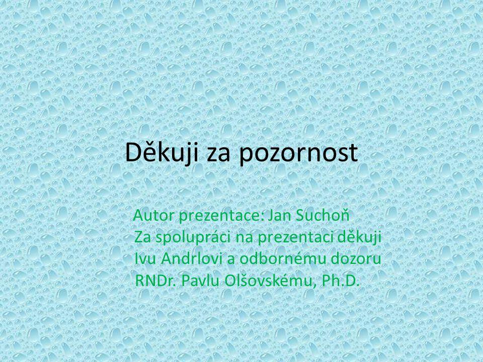 Děkuji za pozornost Autor prezentace: Jan Suchoň Za spolupráci na prezentaci děkuji Ivu Andrlovi a odbornému dozoru RNDr. Pavlu Olšovskému, Ph.D.
