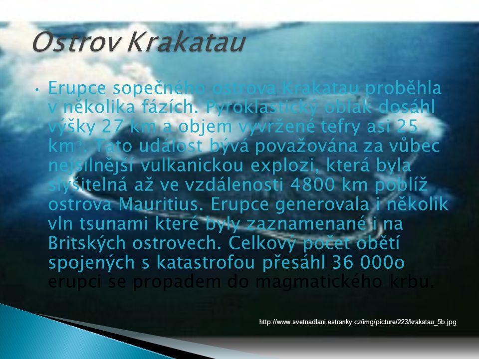 • Erupce sopečného ostrova Krakatau proběhla v několika fázích.