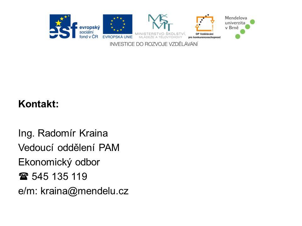Kontakt: Ing. Radomír Kraina Vedoucí oddělení PAM Ekonomický odbor  545 135 119 e/m: kraina@mendelu.cz